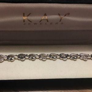 KAY Diamond Heart Sterling Silver Bracelet